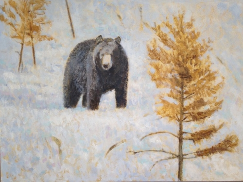 'Bear and Rusty Pine' acrylic painting by Darren Rees