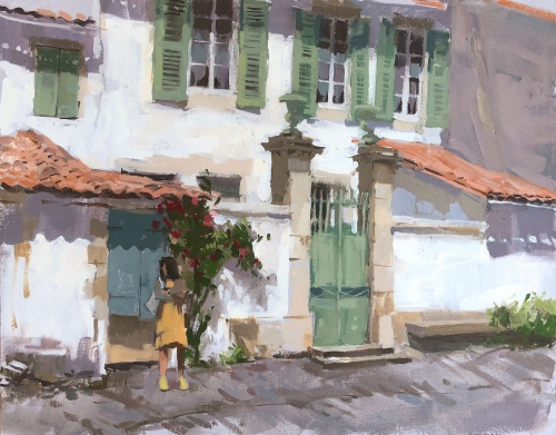 """Green Shutters, île de Ré"" Oil Painting by Haidee-Jo Summers"
