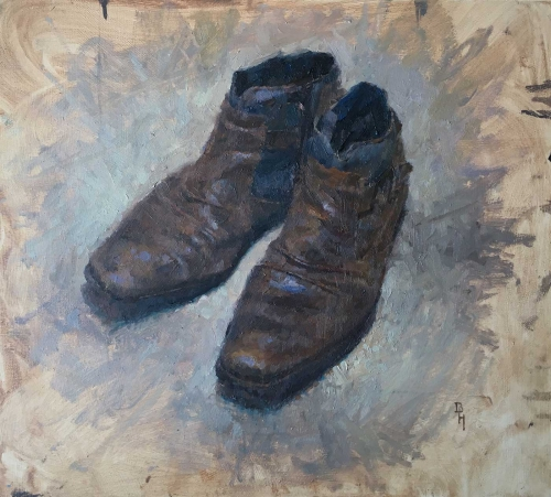 """My German Boots"" Oil painting by Benjamin Hope"