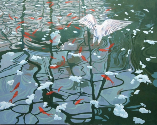 """Snow and Ice on the Pond"" Acrylic Painting by Carole Hubble"