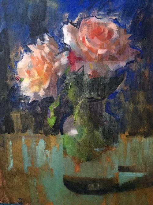 James Bland Roses on Ultramarine