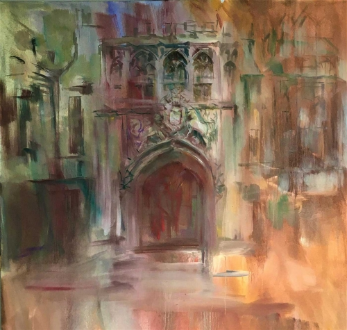 """Brasenose College Gate Oxford"" Oil Painting by Philip James"