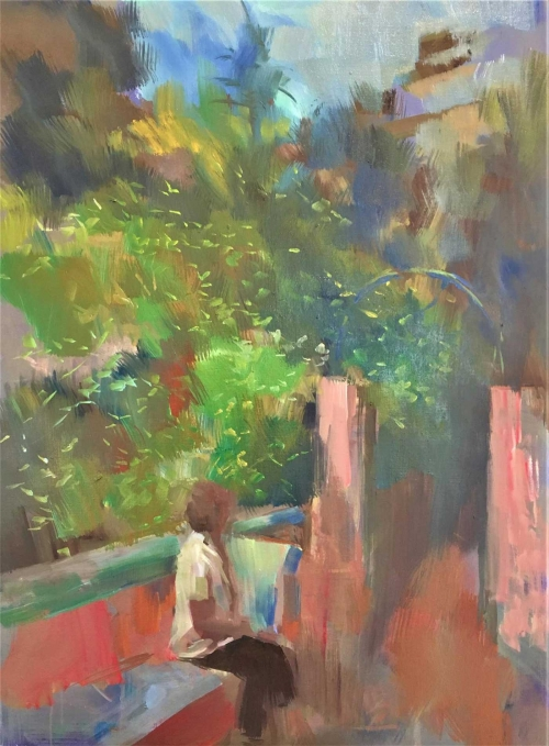"""Flowering Garden Funchal"" Oil on Linen by Philip James"