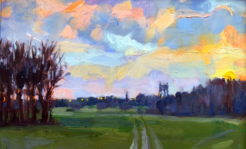 Lucy Kent Sunset and Water Tower Wiltshire Mall Galleries