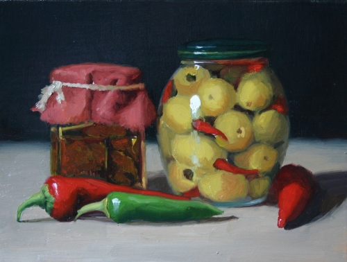 Liz Balkwill Jarred Off Oil Painting Still Life