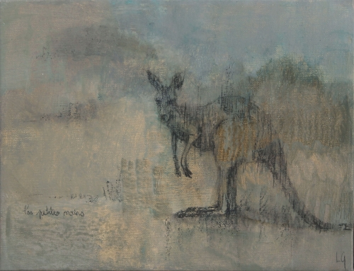 """Kangaroo (les petites mains)"" Mixed Media on Canvas by Lucie Geffré"