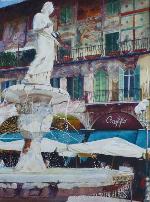 """Madonna Verona Fountain"" Watercolour by Harry Price"