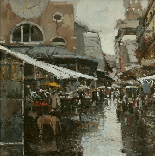 """Venice, San Giacomo di Rialto"" Oil on Canvas by Robert E Wells"