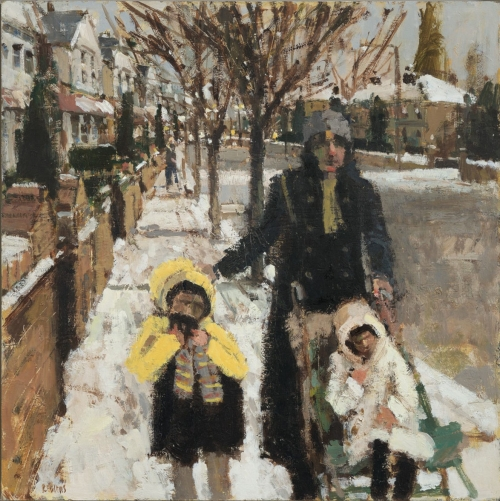 """Walking to the Shops"" Oil on Canvas by Robert Wells"