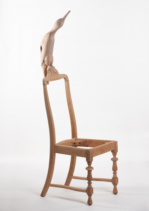"""Bird and Chair"" Wooden Sculpture by Teresa Hunyadi"