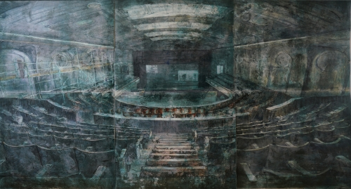 """""""Stage right, centre stage"""" Lithographic Monoprint by Kristina Chan"""