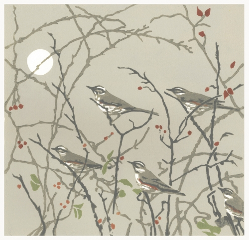 """Evening Redwings"" Linocut by Max Angus"