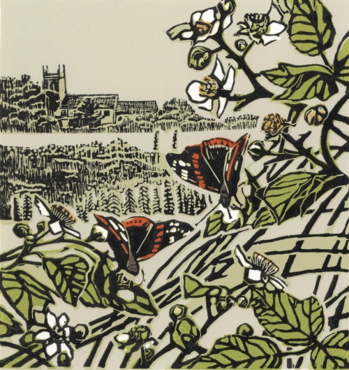 """Red Admirals - Burnham Thorpe"" Linocut Print by Max Angus"