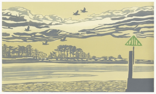 """Wells before dark"" Linocut by Max Angus"