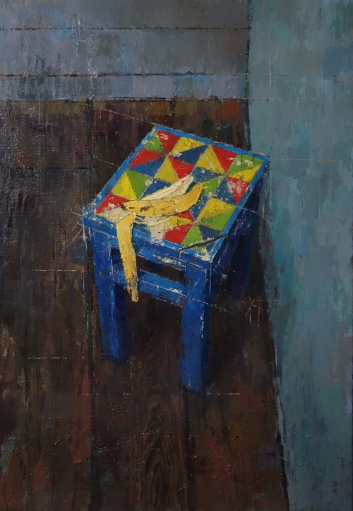 """Blue Still Life"" Oil on Linen by Bernadett Timko"