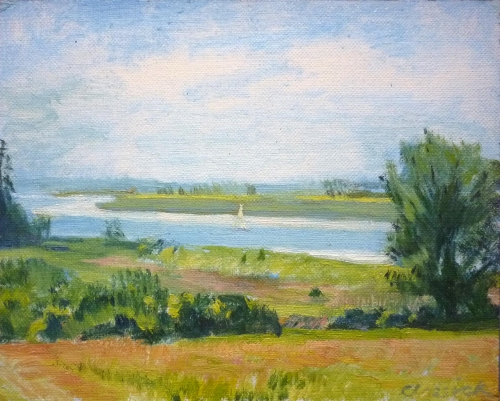 """Debden Estuary"" Oil on canvas board by Peter Clossick"