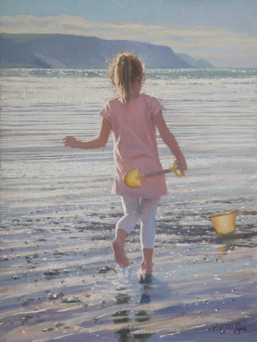 """Discovering the Beach"" Oil Painting by Nicholas St John Rosse"