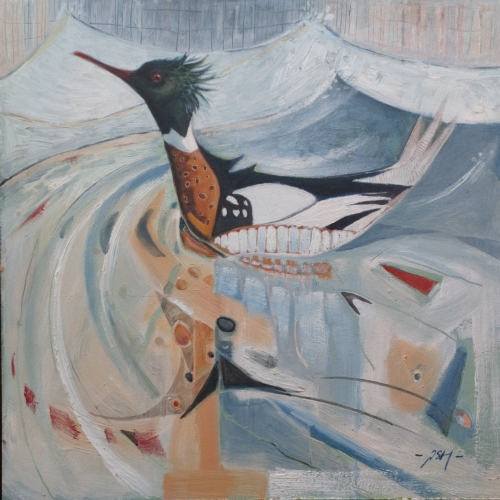 """Displaying Red Breasted Merganser, Granton Edinburgh."" Oil on Board by Paul Hartley"
