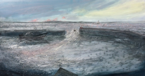 """Early Morning Newlyn Harbour"" Oil on Aluminium by Jack Davis"
