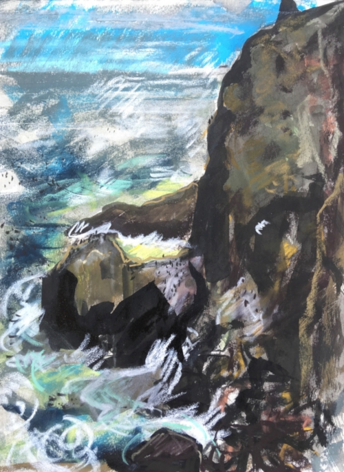 """Cliffs with Nesting Guillemots and Kittiwake at St Abbs Head"" Ink wash on soft pastel paper by Emily Ingrey-Counter"
