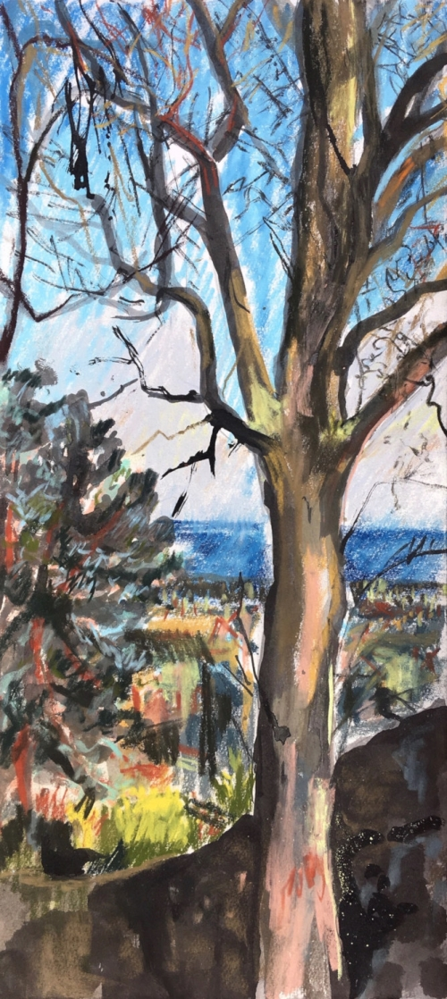 """Winter Light and beyond Holyrood Park"" Ink wash on soft pastel paper by Emily Ingrey-Counter"