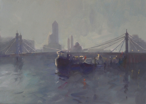 """Albert Bridge"" Oil on Board by Frances Bell"