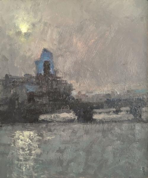 """""""One Blackfriars"""" Oil on Panel by Benjamin Hope"""