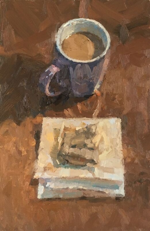 """Mug of Tea with Teabag on Kitchen Towel"" Oil on Panel by Benjamin Hope"