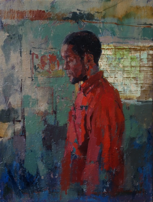 """Jabril in Red"" Oil on Linen by Bernadett Timko"