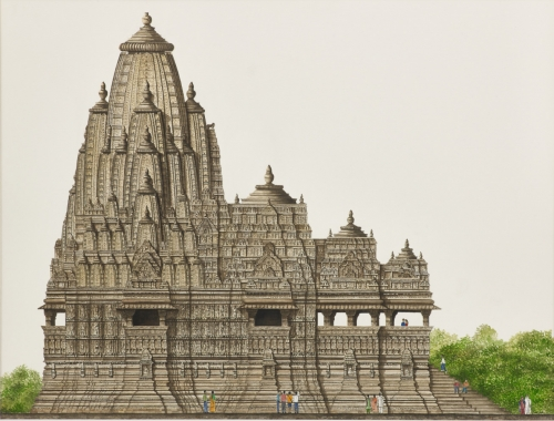 """Kandariya Mahadeva Temple, Khajuraho"" Watercolour by Varsha Bhatia"