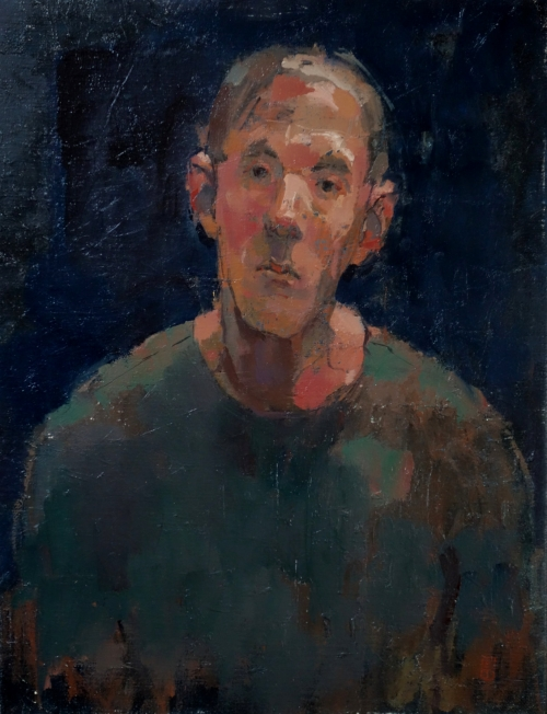 """Portrait in Lamplight"" Oil on Linen by Bernadett Timko"