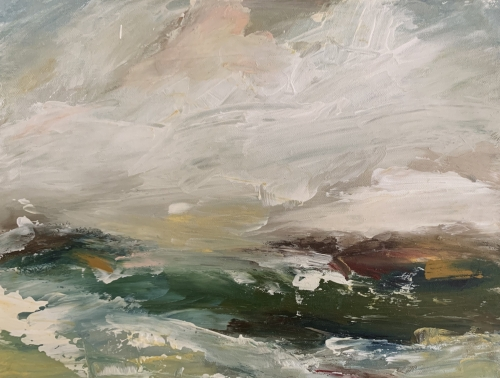 """Bude"" Oil and Gesso on Canvas by Rachel Arif"