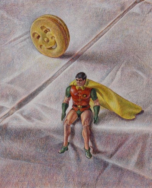"""Robin and a Happy Faces Biscuit"" Egg Tempera on Gesso Panel by Robin Lee Hall"