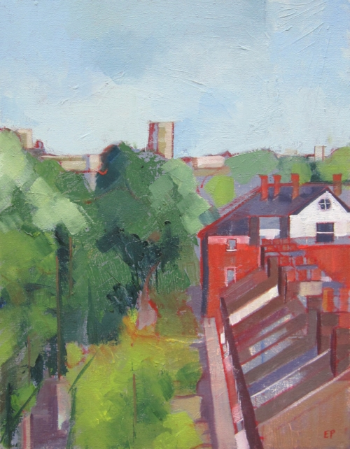 """Rooftops I"" Oil on Canvas by Eve Pettitt"