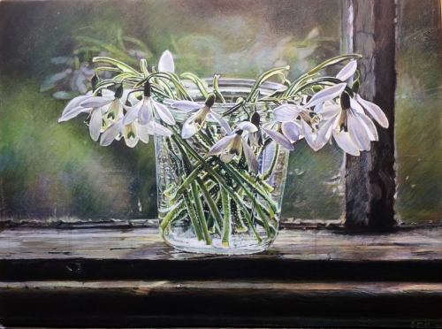 """Snowdrops on my Windowsill"" Egg Tempera on Gesso Panel by Sarah Harding"