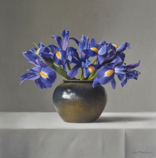 """Irises in Stoneware Jar"" Oil on Canvas by Lucy McKie"
