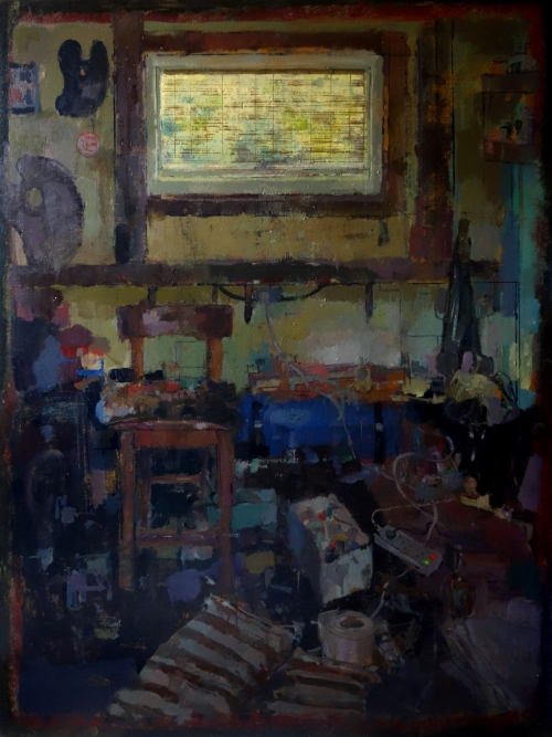 """Studio in Afternoon Light"" Oil on Linen by Bernadett Timko"