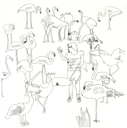 """Flamingo Family"" Screenprint by Jack Haslam"