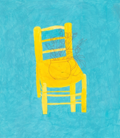"""Chair with Tulips"" Watercolour and Acrylic painting by Jack Haslam"