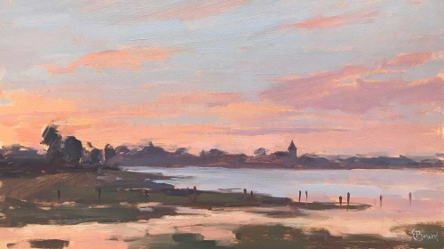 'Sunrise, Bosham Channel' oil painting by Clare Bowen