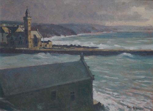 """Stormy day – Porth Leven"" Oil on Board by Colin Allbrook"