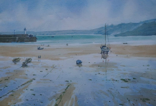 """Tide coming in St Ives"" Watercolour & bodycolour on paper by Colin Allbrook"