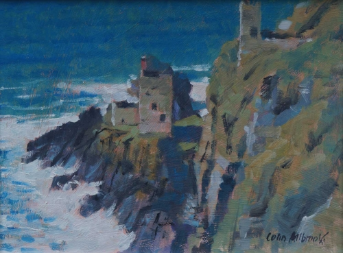 """Tin Mines, Botallack"" Oil on Board by Colin Allbrook"