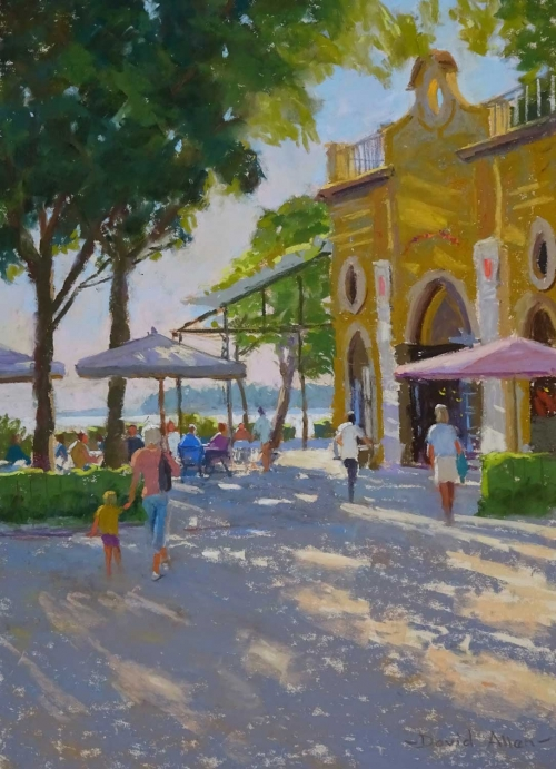 'Cafe Paradiso, Venice' pastel painting by David Allen