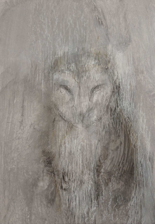 'Barn Owl 2' mixed media work by Lucie Geffre