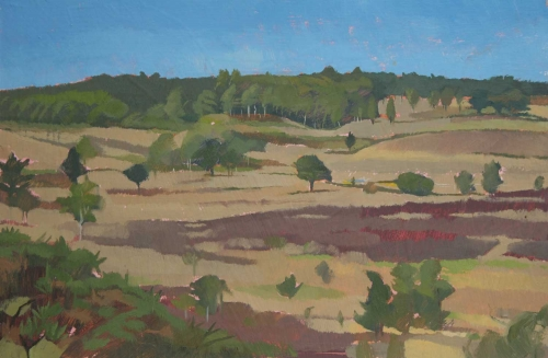 """Chobham Common, Surrey"" Oil on Panel by Caroline Bays"