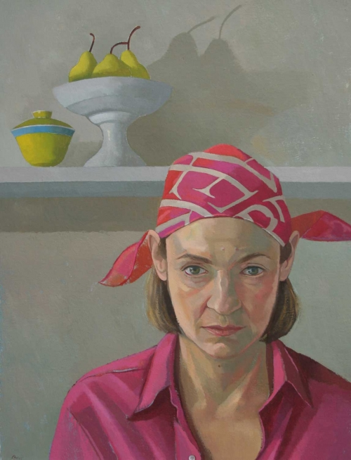 """Self Portrait in Pink"" Oil on Panel by Caroline Bays"