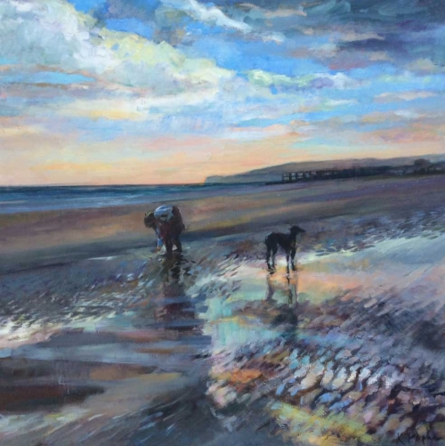 """Beachcombing at Camber Sands"" Oil on Linen by Karen Popham"