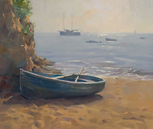 'Boat on the beach, Elba' oil painting by Frances Bell
