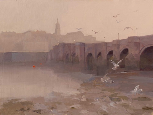 """Berwick Old Bridge"" Oil on Board by Frances Bell"